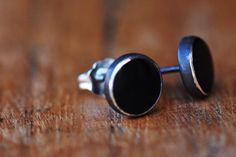 Black onyx silver stud earrings – Amanda K Lockrow