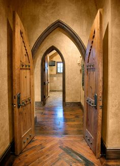 A standard Yackoonean door and hallway. I have a thing for medieval interiors. Source Comment: Old World Gothic - These with those asymmetrical natural flow wood floors would be amazing in a house. Gothic House, Victorian Gothic, Medieval Gothic, Future House, My House, Gothic Interior, Parks, World Decor, Castle House