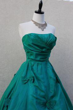 Jade-green 1950s ballgown in silk taffeta.