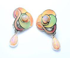 Art Nouveau Style Earrings, Faux Opal Drop Earrings, Orange Green Drop Dangle Earrings, Statement Clip On Earrings (c1980s) - Wedding by GillardAndMay on Etsy
