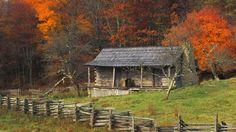 Cabin Among Color Cumberland Gap National Park Kentucky