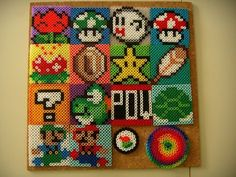 Super Mario coasters made from those little melty beads