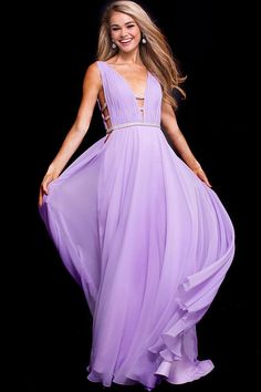 21ce72857e Jovani - 51515 Ruched Deep V-neck A-line Dress