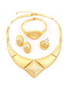 Trendy 18k Gold Plated Geometric 4 Pieces costume Jewelry Sets
