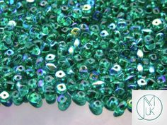 10g Czech SuperDuo Twin Beads Chrysolite AB