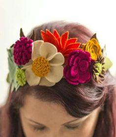 9162dec7b Primaveral Diy Hair Accessories, Diy Felt Flower Crown, Felt Flower  Headbands, Felt Crown