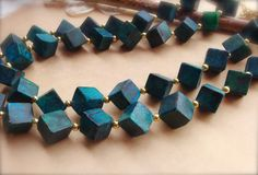 Western Jewelry Cube Necklace Yellow Turquoise by TheCrystalCorral