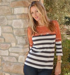 anthropologie stripes & lace top