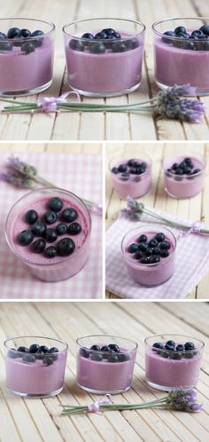 White chocolate mousse, blueberry and LAVENDER White chocolate 400 ml. cream 50 g. Mousse Dessert, Dessert Cups, My Dessert, Dessert Recipes, Bistro Food, White Chocolate Mousse, Biscuits, Small Cake, Mini Desserts
