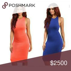 Racerback Midi Dress Sleeveless racer-back midi bodycon dress with round neck design. Soft lining under. Content : 95% Rayon 5%spandex Colors available are Royal blue and Coral Exquisite Styles Dresses Midi