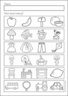 Kindergarten Back to School Math & Literacy Worksheets and Activities. 135 pages. A page from the unit: what doesn't belong? Back To School Worksheets, Free Kindergarten Worksheets, Preschool Worksheets, Preschool Learning, Preschool Activities, Printable Worksheets, Teaching, Go Math Kindergarten, Math Literacy