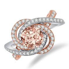 Morganite & Diamond Swirl Halo Engagement Ring 14k Two Tone, Wedding Rings, Fashion Rings, Statement Rings for Women, Anniversary Gifts, RAVEN FINE JEWELERS, Red Carpet Celebrity Jewelry, Celebrity Rings, Beverly Hills, Christmas Gifts