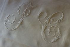 A commission piece I did a few years ago.  Two pure linen pillowcases were embroidered with the customer's initials.  Blogged here
