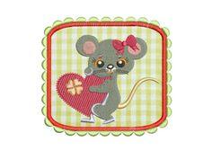 Stickdatei Stickmuster Maus mit Herz Applikation von lollikids auf DaWanda.com