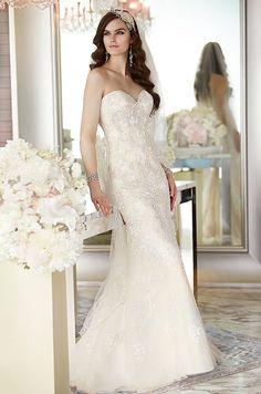A strapless wedding dress with beautiful beading detail. Essense of Australia, Fall 2014