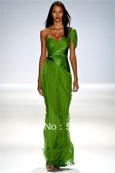 New One Shoulder cap Sleeve chiffon Pleats Simple Unique Designer Green Elie Saab Evening Dress Gowns Long 2013