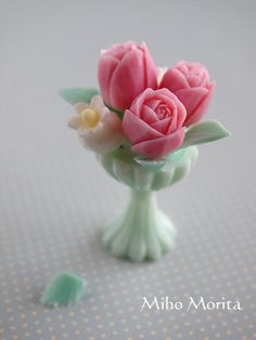 vase and flowers of soap carving