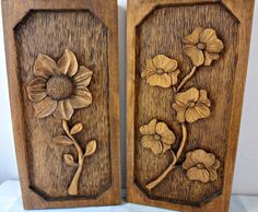 Vintage Hand Carved Wood Wall Hanging Flowers by Abbysfabric, $22.00