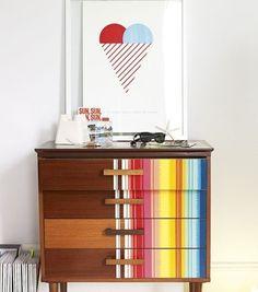 Unique Striped Dresser via belle maison Diy Furniture Projects, Upcycled Furniture, Furniture Makeover, Home Furniture, Furniture Design, Dresser Makeovers, Children Furniture, Dresser Ideas, Bespoke Furniture