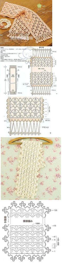 Crochet Scarf Diagram Patrones Ideas For 2019 Crochet Scarf Diagram, Crochet Motifs, Crochet Poncho, Crochet Chart, Filet Crochet, Crochet Scarves, Crochet Clothes, Crochet Stitches, Crochet Patterns