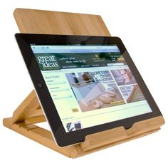 Wooden Tablet Stand With Adjustable Base