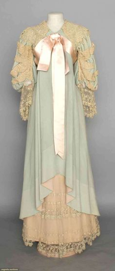 WOOL & LACE MORNING GOWN, c. 1895 Blue flannel w/ chemical lace trim, pink silk sash.