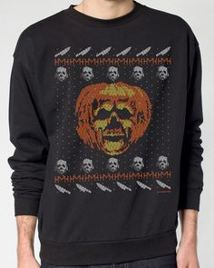 Fright-Rags has a collection of faux ugly Christmas sweaters, applying the tacky, knit design style to Jaws, Trick 'r Treat, Halloween II and Halloween III: Season of the Witch. Ugly Sweater, Sweaters, Halloween Ii, Holiday Wear, Movie T Shirts, Indie Fashion, My T Shirt, Horror Movies, Cool Outfits