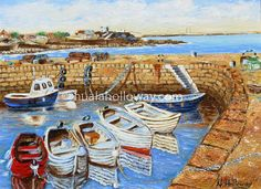 """Bullock Harbour, Dalkey"" by Nuala Holloway - Oil on Canvas #Dalkey #BullockHarbour #NualaHolloway #IrishArt Irish Art, Seaside, Oil On Canvas, Painting, Beach, Painted Canvas, Paintings, Oil Paintings, Draw"