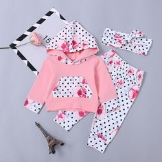 Baby / Toddler Floral Polka Dots Print Long-sleeve Hoodie and Pants with Headband Set Cute Newborn Baby Girl, Newborn Boy Clothes, Baby Kids Clothes, Baby Outfits Newborn, Baby Boy Outfits, My Baby Girl, Baby Girl Leggings, Baby Girl Romper, Winter Outfits For Girls