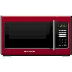 Emerson 900-Watt Microwave - Red (MW9338RD) (240 BRL) ❤ liked on Polyvore featuring home, kitchen & dining, small appliances, kitchen, kitchen appliances, microwaves, pizza oven, emerson, potato oven and digital turntable