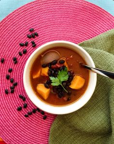 Black Bean and Sweet Potato Soup. Simple to prepare, vegan, and gluten free.