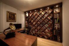 Gorgeous diamond-patterned built-in bookshelves.