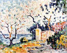 """Paul Signac, """"Alberi in fiore"""", fine del XIX secolo, Fondation Bemberg, Toulouse - esposto all'interno della mostra """"Dopo l'impressionismo. Il nuovo sguardo sulla natura in tre opere di Bonnard, Signac, Matisse"""", Bari, Castello Normanno-Svevo"""