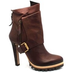 "Vic Matie ""6154"" Brown Leather High Heel Bootie ($310) ❤ liked on Polyvore"