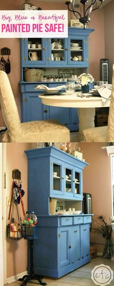We painted this antique pie safe with annie sloan chalk paint in greek blue and paris grey! It is now the prettiest painted pie safe. Diy Furniture Projects, Chalk Paint Furniture, Diy Home Decor Projects, Furniture Making, Furniture Makeover, Decor Ideas, Paris Grey, Annie Sloan, Antique Pie Safe