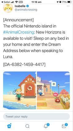Animal Crossing Town Tune, Animal Crossing Wild World, Animal Crossing Fan Art, Animal Crossing Guide, Animal Crossing Qr Codes Clothes, Animal Crossing Villagers, Nintendo Switch, Dream Code, Pokemon