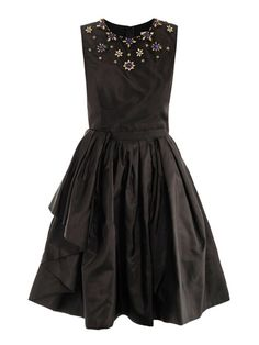 This black silk sleeveless dress has a black bead, blue bead and clear crystal floral-embellished round-neck.The dress has a fitted top and a full pleated skirt with a grosgrain waistband, side pockets and a hidden centre-back zip fastening.