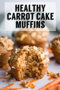 Healthy Carrot Cake Muffins- a SUPER simple vegan breakfast that you'll find yourself making over an Healthy Carrot Cakes, Healthy Muffin Recipes, Carrot Recipes, Healthy Deserts, Healthy Dessert Recipes, Healthy Sweets, Healthy Baking, Vegan Desserts, Baby Food Recipes