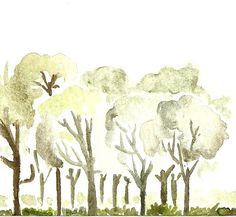 By Diego A. Trees Collection 2, Watercolor on paper drawing
