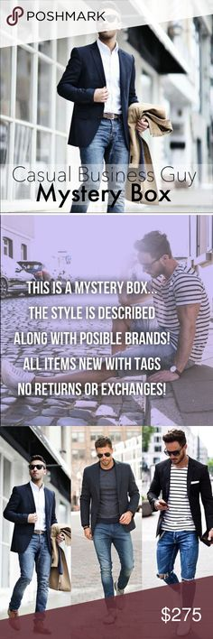 Casual Business Guy Mystery Box Cheers to getting. New wardrobe , items hand selected by your personal stylist Lala! Let me transform you to the hottest looking guy this summer! Please let me know all your measurements when purchasing this box! Pants/Jeans size shirts size. You will get 3-5 pieces .Brands might include : Hugo Boss, Lacoste , Levi, Tommy Hilfiger, J.Crew, Michael Kors, Náutica , Polo, Ralph Lauren, & Many more, all items are NWT! Hugo Boss Jackets & Coats