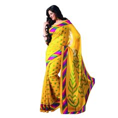 Buy Yellow Color Digital Printed Bhagalpuri Saree Online at cheap prices from Shopkio.com: India`s best online shoping site