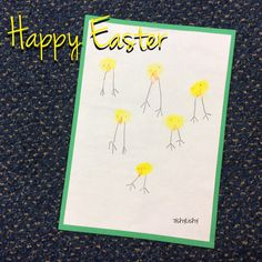 Class Easter card. Thumb print chick Reception Class, Early Years Classroom, Eyfs Classroom, Thumb Prints, Spring Theme, Spring Activities, Pre School, Happy Easter, Easter Card