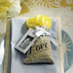Mini Linen Drawstring Pouch with Vintage Infused Love Print - Weddingstar