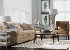 This look is built on multiple layers of textures and natural elements with rugged appeal. A palette of camel, coffee, and mineral blue gives the space its airy vibe. The material mix is key. A classic wing chair in saddle-soft leather with dark bronzed nailhead trim adds earthy elegance.