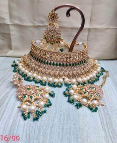 Golden with White Beads Choker Set Indian Bridal Jewelry Sets, Indian Jewellery Online, Bridal Accessories, Indian Jewelry, Wedding Necklace Set, Dulhan Mehndi Designs, Indian Wedding Outfits, Wedding Dress, Beaded Choker