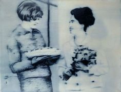 Zwei Frauen mit Torte (Two Women with a Cream Cake), oil on canvas, 1965 by Gerhard Richter