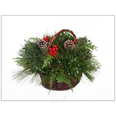 A Christmas basket is a beautiful and versatile addition to any home for holiday decorations. Simply place your basket on a mantelpiece, the dining table, or line your entryway with baskets for an eas Fresh Cut Christmas Trees, Real Christmas Tree, Christmas Wreaths, Christmas Ideas, Christmas Centerpieces, Christmas Decorations, Thing 1, Christmas Baskets, Pine Cone Crafts
