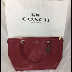 "COACH Ava Red Leather Tote Bag‼️ 2 Handles 2 slip pockets Inside 3 multifunctional pockets Fabric Approximate Measurements: (middle point) 17 (L) 11 (H) 4 (D) Handle Drop: 9"" 100% Authentic Coach Bags Totes"