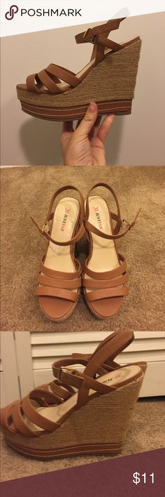 Tan wedges Worn once to a baby shower. Just fab size 8. The highest point of the wedge is 5 inches with a 2 inch platform toe JustFab Shoes Wedges