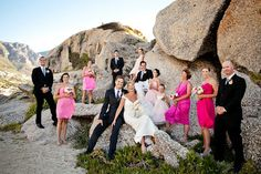 Love the mismatched pink bridesmaid dresses - photo by Du Wayne Photography   junebugweddings.com